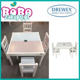 DREWEX Zestaw Stolik i 2 Krzesełka Różowo-Niebieskie