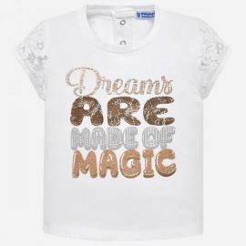 MAYORAL 1009 Koszulka z krótkim rękawem dla dziewczynki Biały