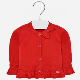 MAYORAL 1307 Sweterek rozpinany z falbankami Czerwony
