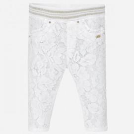 MAYORAL 1517 Długie spodnie z koronką Biały