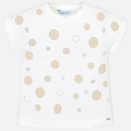 MAYORAL 3012 Koszulka z krótkim rękawkiem w groszki Złoty