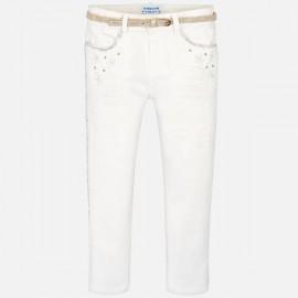 MAYORAL 3502 Długie spodnie z ozdobami dla dziewczynki Kremowy