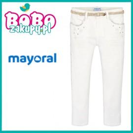 MAYORAL 3502 Długie spodnie z dla dziewczynki Kremowy