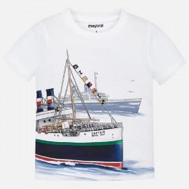 MAYORAL 3024 Koszulka w statki dla chłopca Biały