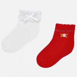 MAYORAL 10530.058 Zestaw 2par skarpetek dla dziewczynki Czerwony