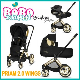 CYBEX PRIAM 2.0 JEREMY SCOTT 3w1 Spacerówka + Gondola Wings + fotelik Cloud Z