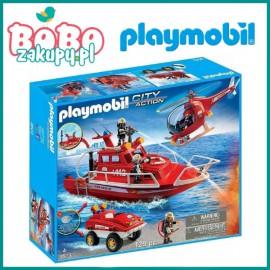 Playmobil 9503 Zestaw łódź straży pożarnej z amfibią i helikopterem