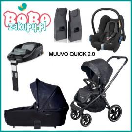 Wózek Spacerowy Muuvo Quick 2.0 + Gondola+ Cabriofix z bazą Familyfix