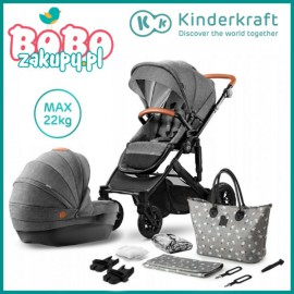 Kinderkraft Wózek głęboko spacerowy PRIME 2w1 grey + mommy bag