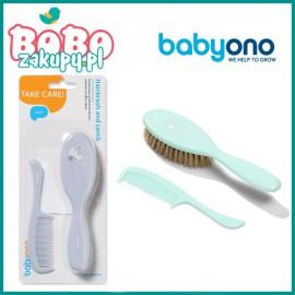 BABYONO 567 Szczoteczka i grzebień dla dzieci i niemowląt, naturalne miękkie włosie